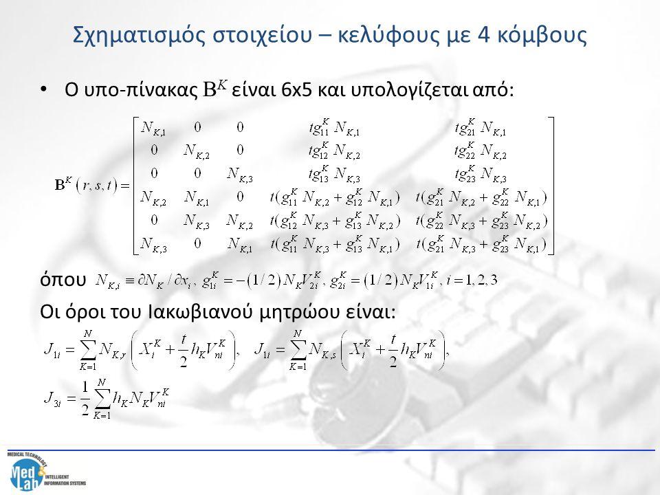 Σχηματισμός στοιχείου – κελύφους με 4 κόμβους Ο υπο-πίνακας B Κ είναι 6x5 και υπολογίζεται από: όπου Οι όροι του Ιακωβιανού μητρώου είναι: