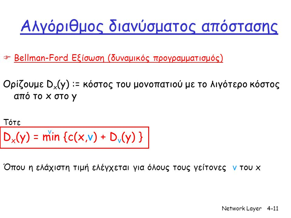 Network Layer4-11 Αλγόριθμος διανύσματος απόστασης  Bellman-Ford Εξίσωση (δυναμικός προγραμματισμός) Ορίζουμε D x (y) := κόστος του μονοπατιού με το λιγότερο κόστος από το x στο y Τότε D x (y) = min {c(x,v) + D v (y) } Όπου η ελάχιστη τιμή ελέγχεται για όλους τους γείτονες v του x v