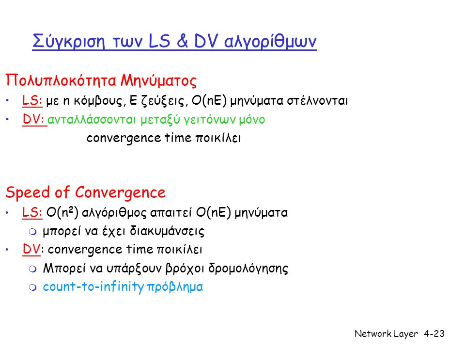 Network Layer4-23 Σύγκριση των LS & DV αλγορίθμων Πολυπλοκότητα Μηνύματος LS: με n κόμβους, E ζεύξεις, O(nE) μηνύματα στέλνονται DV: ανταλλάσσονται μεταξύ γειτόνων μόνο convergence time ποικίλει Speed of Convergence LS: O(n 2 ) αλγόριθμος απαιτεί O(nE) μηνύματα m μπορεί να έχει διακυμάνσεις DV: convergence time ποικίλει m Μπορεί να υπάρξουν βρόχοι δρομολόγησης m count-to-infinity πρόβλημα