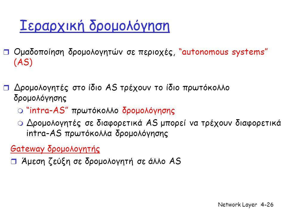 "Network Layer4-26 Ιεραρχική δρομολόγηση r Ομαδοποίηση δρομολογητών σε περιοχές, ""autonomous systems"" (AS) r Δρομολογητές στο ίδιο AS τρέχουν το ίδιο π"