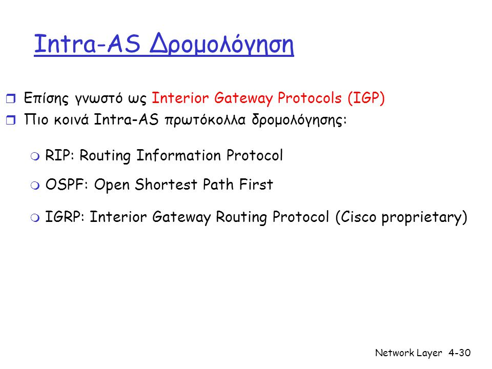 Network Layer4-30 Intra-AS Δρομολόγηση r Επίσης γνωστό ως Interior Gateway Protocols (IGP) r Πιο κοινά Intra-AS πρωτόκολλα δρομολόγησης: m RIP: Routing Information Protocol m OSPF: Open Shortest Path First m IGRP: Interior Gateway Routing Protocol (Cisco proprietary)