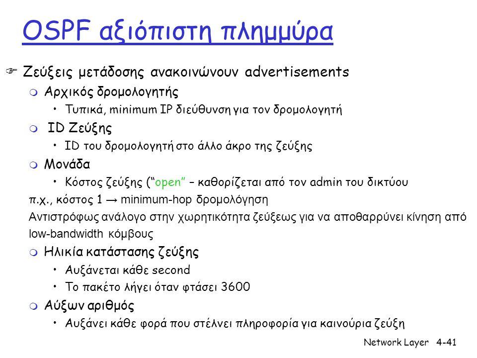 Network Layer4-41 OSPF αξιόπιστη πλημμύρα  Ζεύξεις μετάδοσης ανακοινώνουν advertisements m Αρχικός δρομολογητής Τυπικά, minimum IP διεύθυνση για τον δρομολογητή m ID Ζεύξης ID του δρομολογητή στο άλλο άκρο της ζεύξης m Μονάδα Κόστος ζεύξης ( open – καθορίζεται από τον admin του δικτύου π.χ., κόστος 1 → minimum-hop δρομολόγηση Αντιστρόφως ανάλογο στην χωρητικότητα ζεύξεως για να αποθαρρύνει κίνηση από low-bandwidth κόμβους m Ηλικία κατάστασης ζεύξης Αυξάνεται κάθε second Το πακέτο λήγει όταν φτάσει 3600 m Αύξων αριθμός Αυξάνει κάθε φορά που στέλνει πληροφορία για καινούρια ζεύξη
