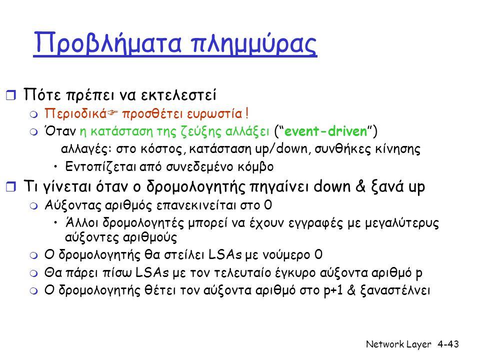 "Network Layer4-43 Προβλήματα πλημμύρας r Πότε πρέπει να εκτελεστεί m Περιοδικά  προσθέτει ευρωστία ! m Όταν η κατάσταση της ζεύξης αλλάξει (""event-dr"