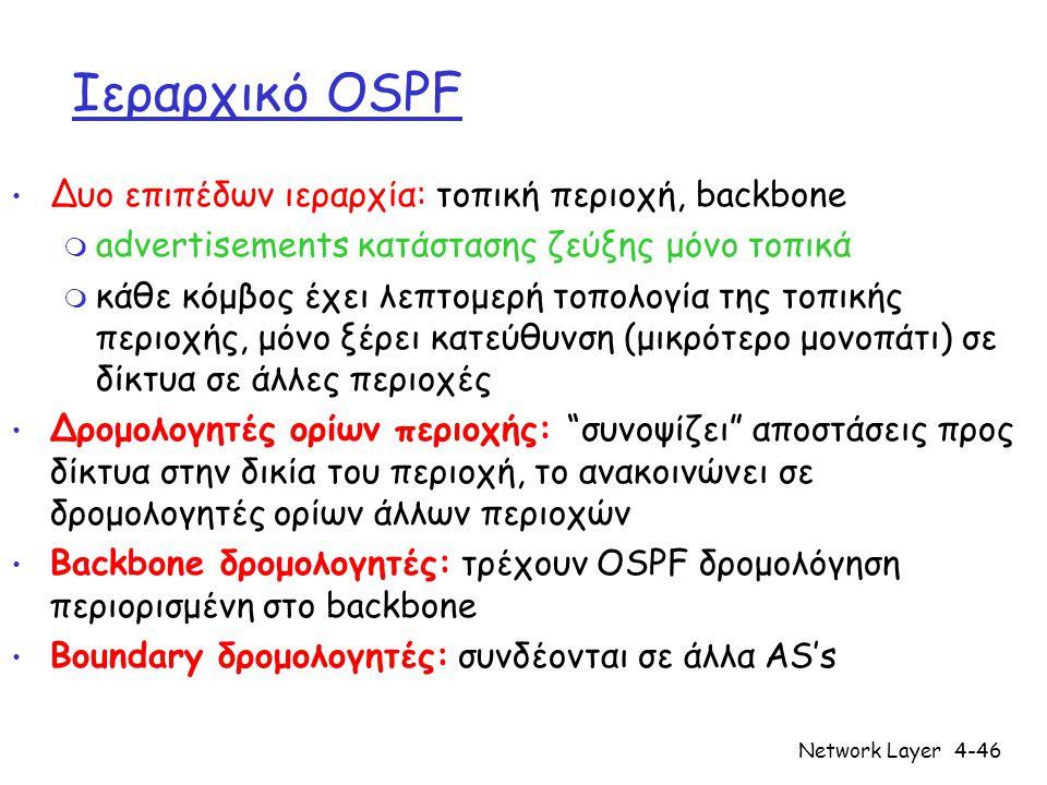 Network Layer4-46 Ιεραρχικό OSPF Δυο επιπέδων ιεραρχία: τοπική περιοχή, backbone m advertisements κατάστασης ζεύξης μόνο τοπικά m κάθε κόμβος έχει λεπ
