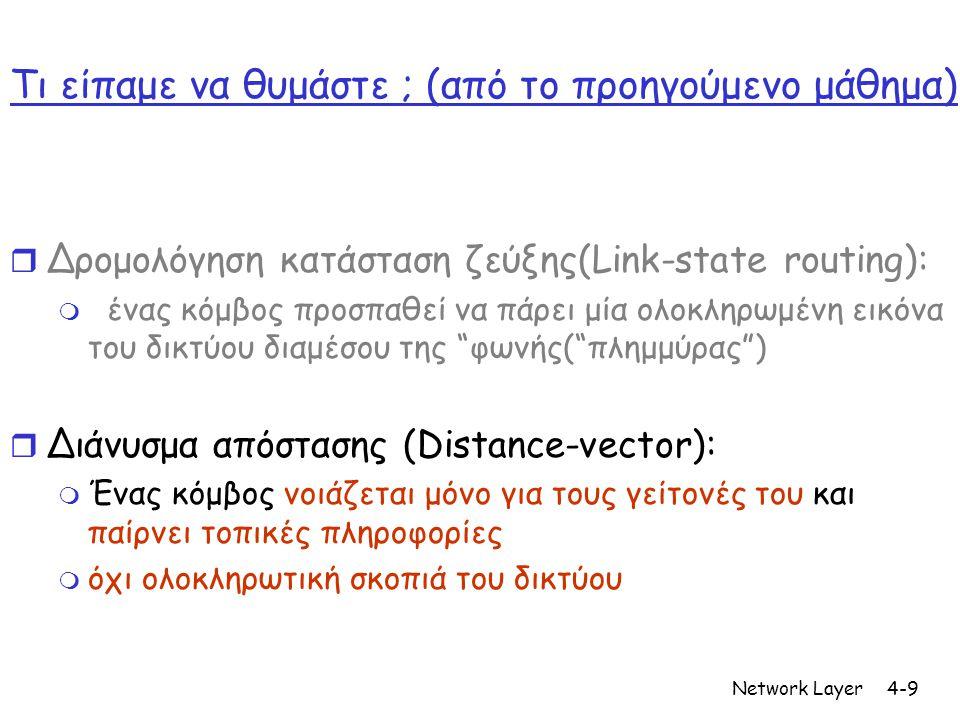 Network Layer4-9 Τι είπαμε να θυμάστε ; (από το προηγούμενο μάθημα) r Δρομολόγηση κατάσταση ζεύξης(Link-state routing): m ένας κόμβος προσπαθεί να πάρει μία ολοκληρωμένη εικόνα του δικτύου διαμέσου της φωνής( πλημμύρας ) r Διάνυσμα απόστασης (Distance-vector): m Ένας κόμβος νοιάζεται μόνο για τους γείτονές του και παίρνει τοπικές πληροφορίες m όχι ολοκληρωτική σκοπιά του δικτύου