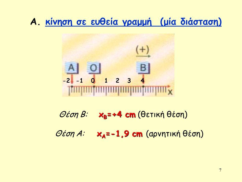 7 Α. κίνηση σε ευθεία γραμμή (μία διάσταση)κίνηση σε ευθεία γραμμή (μία διάσταση) Θέση Β: Θέση Α: 1234-20 x B =+4 cm x B =+4 cm (θετική θέση) x A =-1,