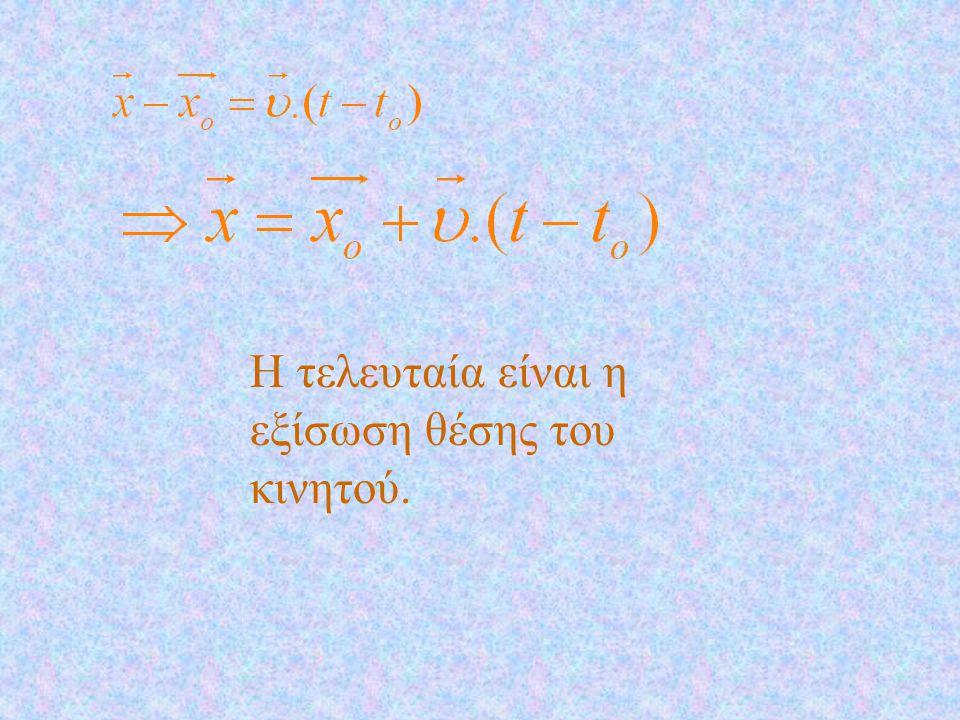 Η εξίσωση θέσης Ο παρατηρητής την χρονική στιγμή t ο βλέπει το κινητό στη θέση Α και το διάνυσμα θέσης είναι : Την χρονική στιγμή t, βλέπει το κινητό