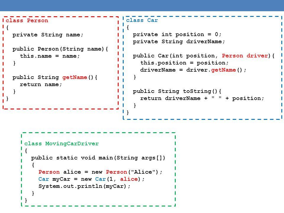 Αναθέσεις μεταξύ αντικειμένων Person varP1 = new Person( Bob , 1); Person varP2; varP2 = varP1; varP2.set( Ann ,2); System.out.println(varP1); Διεύθυνση μνήμης Περιεχόμενο μνήμης 0000 0010 0001 0010 Ann 0011 0100 0101 2 0110 0111 varP1 varP2 Τυπώνει Ann 2 Αλλάζοντας τα περιεχόμενα της θέσης μνήμης στην οποια δείχνει ο varP2 αλλάζουμε και το varP1