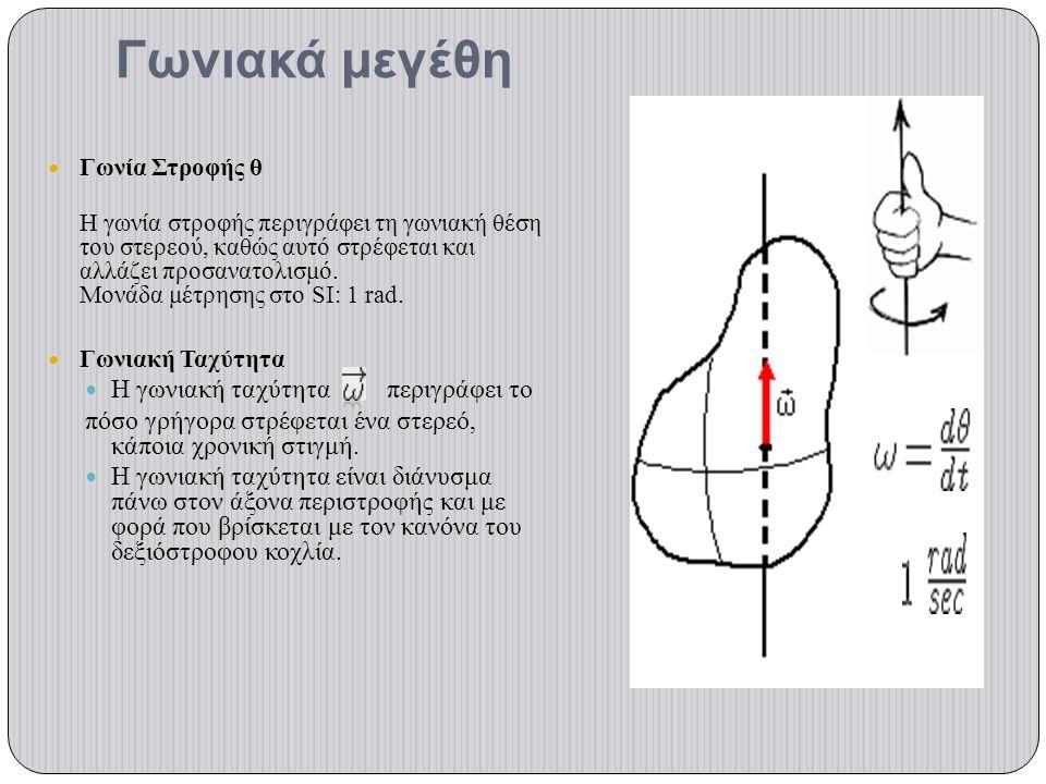 Γωνιακά μεγέθη Γωνία Στροφής θ Η γωνία στροφής περιγράφει τη γωνιακή θέση του στερεού, καθώς αυτό στρέφεται και αλλάζει προσανατολισμό. Μονάδα μέτρηση