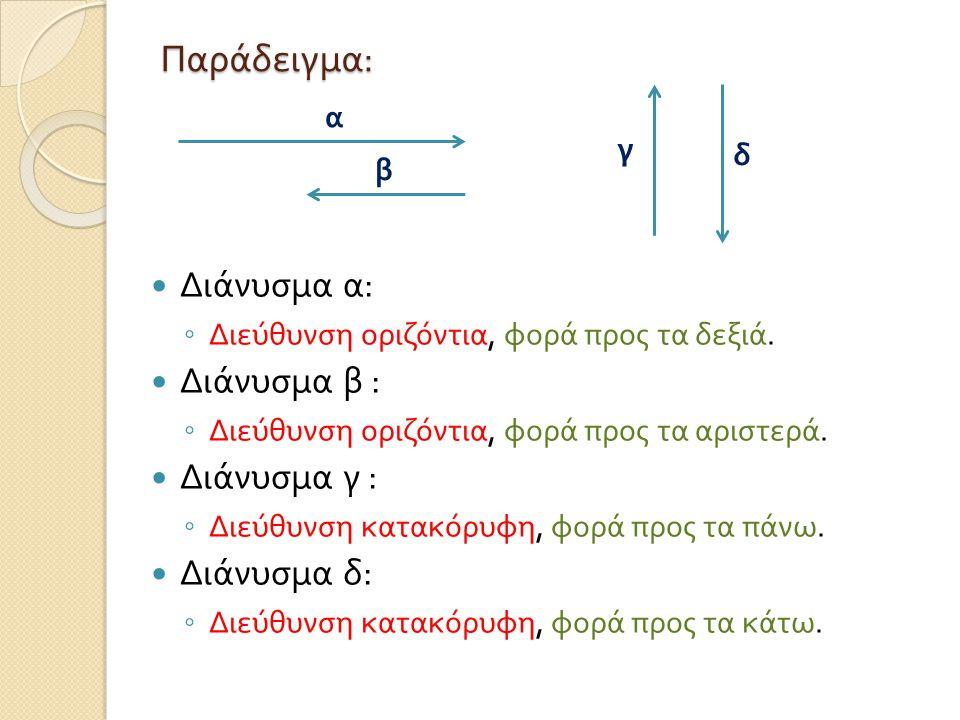 Παράδειγμα : Διάνυσμα α : ◦ Διεύθυνση οριζόντια, φορά προς τα δεξιά. Διάνυσμα β : ◦ Διεύθυνση οριζόντια, φορά προς τα αριστερά. Διάνυσμα γ : ◦ Διεύθυν
