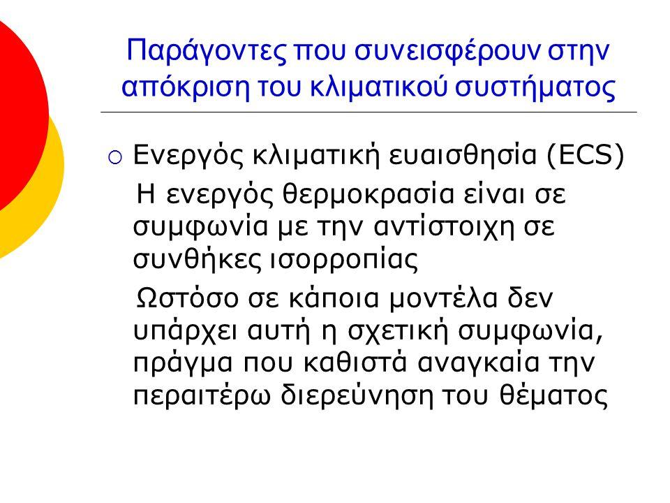 Παράγοντες που συνεισφέρουν στην απόκριση του κλιματικού συστήματος  Ενεργός κλιματική ευαισθησία (ECS) Η ενεργός θερμοκρασία είναι σε συμφωνία με την αντίστοιχη σε συνθήκες ισορροπίας Ωστόσο σε κάποια μοντέλα δεν υπάρχει αυτή η σχετική συμφωνία, πράγμα που καθιστά αναγκαία την περαιτέρω διερεύνηση του θέματος