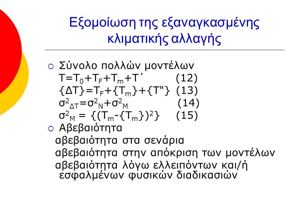 Εξομοίωση της εξαναγκασμένης κλιματικής αλλαγής  Σύνολο πολλών μοντέλων Τ=Τ 0 +Τ F +Τ m +Τ΄ (12) {ΔΤ}=Τ F +{Τ m }+{Τ } (13) σ 2 ΔΤ =σ 2 Ν +σ 2 Μ (14) σ 2 Μ = {(Τ m -{Τ m }) 2 } (15)  Αβεβαιότητα αβεβαιότητα στα σενάρια αβεβαιότητα στην απόκριση των μοντέλων αβεβαιότητα λόγω ελλειπόντων και/ή εσφαλμένων φυσικών διαδικασιών