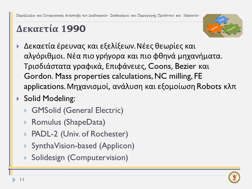 Παράλληλη και Συνεργατική Ανάπτυξη των Διαδικασιών Σχεδιασμού και Παραγωγής Προϊόντων και Μηχανών Δεκαετία 1990  Δεκαετία έρευνας και εξελίξεων. Νέες