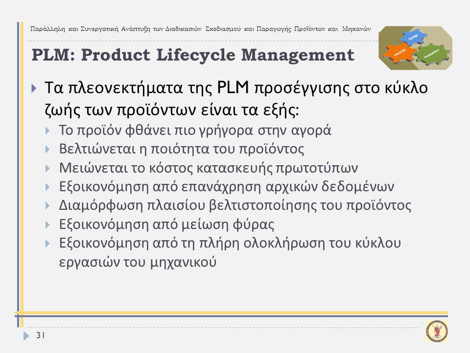 Παράλληλη και Συνεργατική Ανάπτυξη των Διαδικασιών Σχεδιασμού και Παραγωγής Προϊόντων και Μηχανών 31  Τα πλεονεκτήματα της PLM προσέγγισης στο κύκλο