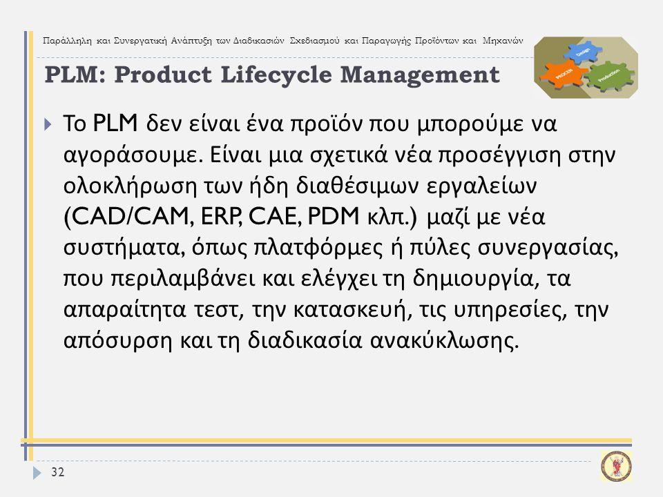 Παράλληλη και Συνεργατική Ανάπτυξη των Διαδικασιών Σχεδιασμού και Παραγωγής Προϊόντων και Μηχανών 32  Το PLM δεν είναι ένα προϊόν που μπορούμε να αγο