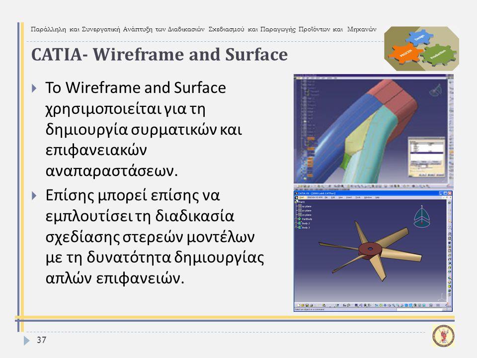 Παράλληλη και Συνεργατική Ανάπτυξη των Διαδικασιών Σχεδιασμού και Παραγωγής Προϊόντων και Μηχανών 37  To Wireframe and Surface χρησιμοποιείται για τη