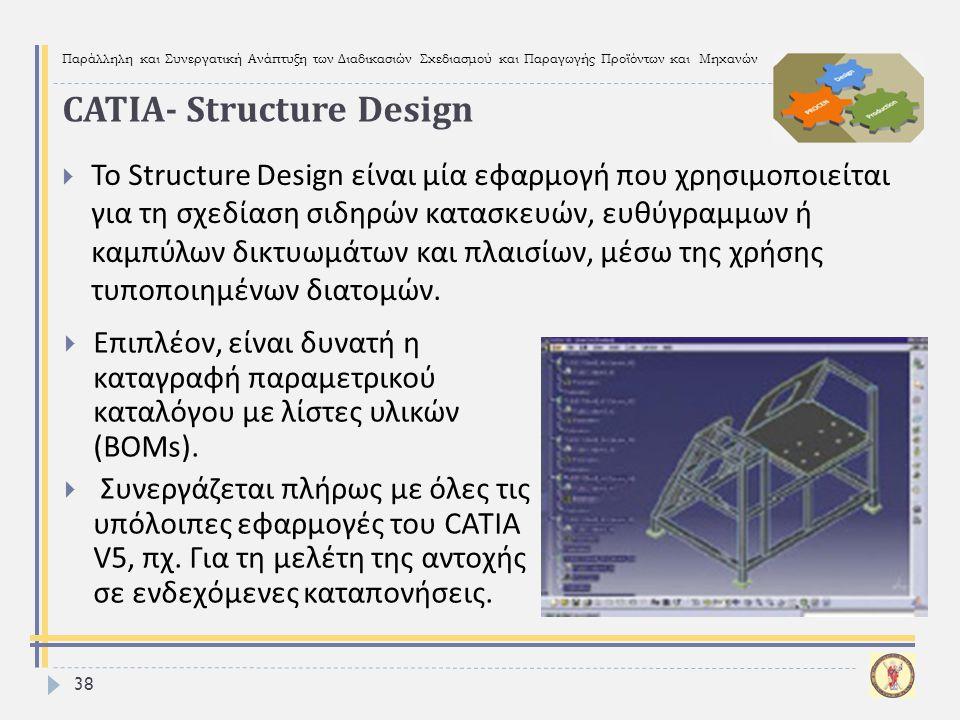 Παράλληλη και Συνεργατική Ανάπτυξη των Διαδικασιών Σχεδιασμού και Παραγωγής Προϊόντων και Μηχανών 38  Το Structure Design είναι μία εφαρμογή που χρησ