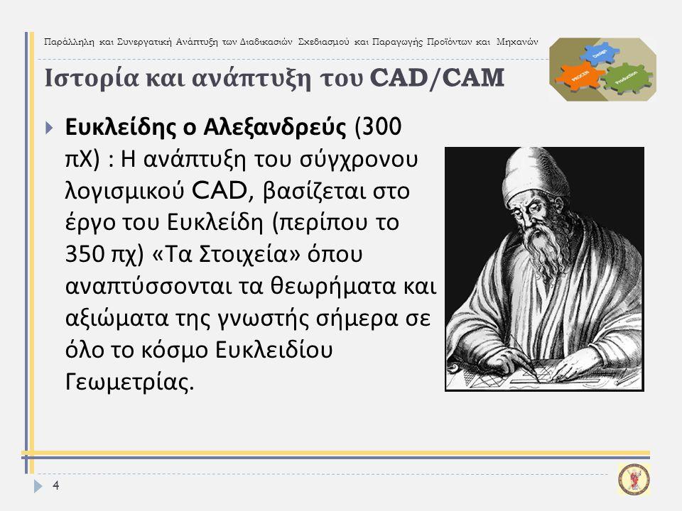 Παράλληλη και Συνεργατική Ανάπτυξη των Διαδικασιών Σχεδιασμού και Παραγωγής Προϊόντων και Μηχανών 5  Γραφική επικοινωνία :  Έλληνες  Αρχαίοι Αιγύπτιοι  Ρωμαίοι  Leonardo da Vinci (1452-1519):  Σχέδια, Μηχανές  Μηχανισμοί, Ρομπότ (Codex Atlanticus) Ιστορία και ανάπτυξη του CAD/CAM