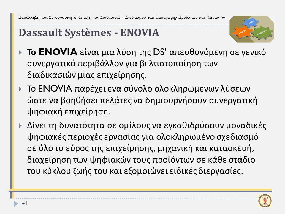 Παράλληλη και Συνεργατική Ανάπτυξη των Διαδικασιών Σχεδιασμού και Παραγωγής Προϊόντων και Μηχανών 41  Το ENOVIA είναι μια λύση της DS' απευθυνόμενη σ
