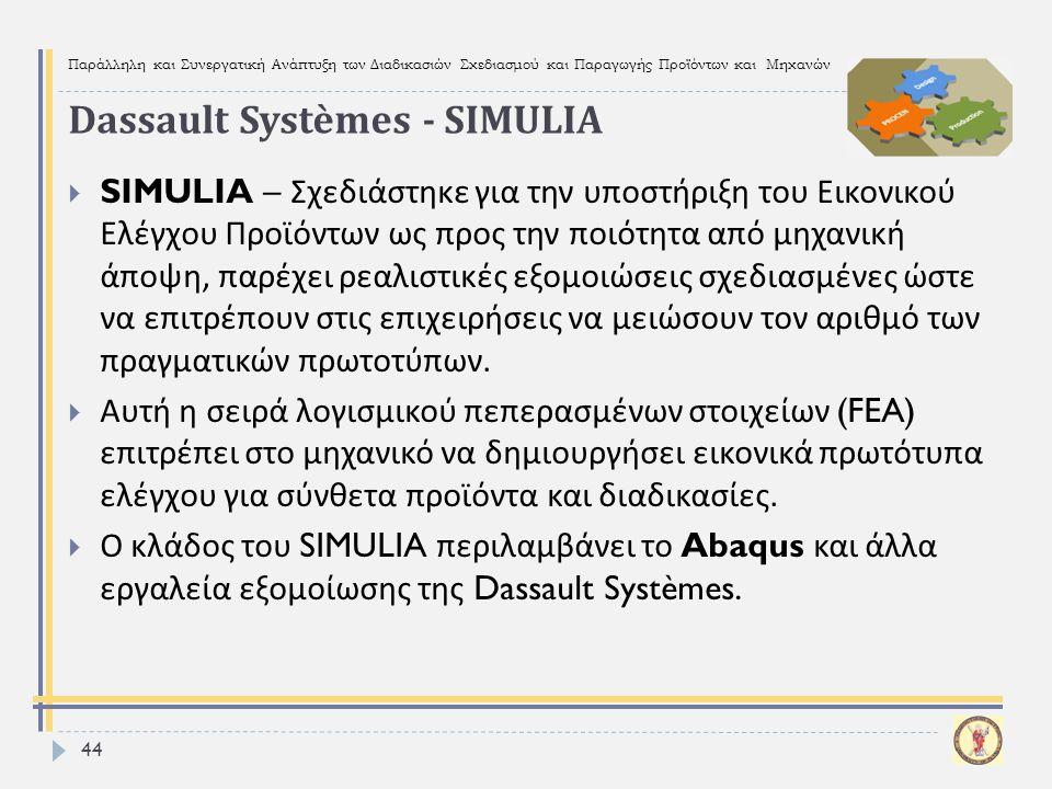 Παράλληλη και Συνεργατική Ανάπτυξη των Διαδικασιών Σχεδιασμού και Παραγωγής Προϊόντων και Μηχανών 44  SIMULIA – Σχεδιάστηκε για την υποστήριξη του Ει
