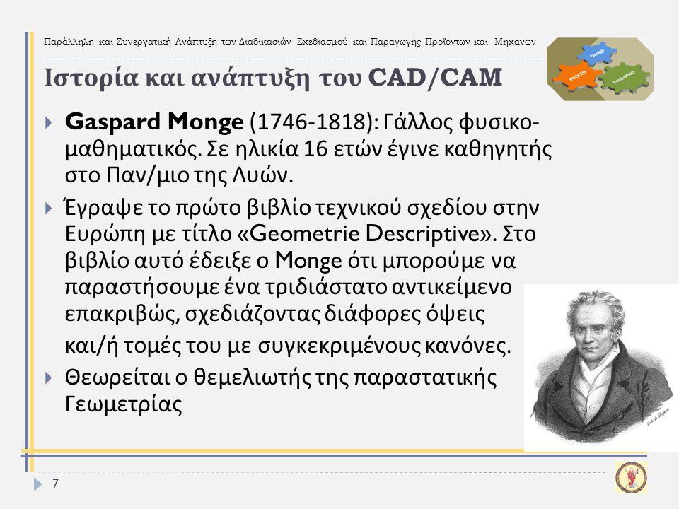 Παράλληλη και Συνεργατική Ανάπτυξη των Διαδικασιών Σχεδιασμού και Παραγωγής Προϊόντων και Μηχανών 7  Gaspard Monge (1746-1818): Γάλλος φυσικο - μαθημ