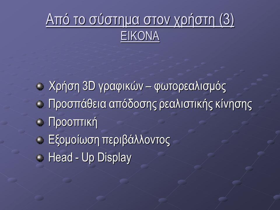 Από το σύστημα στον χρήστη (3) ΕΙΚΟΝΑ Χρήση 3D γραφικών – φωτορεαλισμός Χρήση 3D γραφικών – φωτορεαλισμός Προσπάθεια απόδοσης ρεαλιστικής κίνησης Προσπάθεια απόδοσης ρεαλιστικής κίνησης Προοπτική Προοπτική Εξομοίωση περιβάλλοντος Εξομοίωση περιβάλλοντος Head - Up Display Head - Up Display