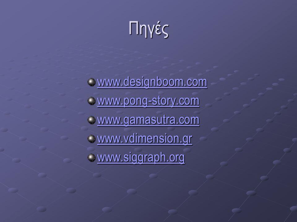 Πηγές www.designboom.com www.pong-story.com www.gamasutra.com www.vdimension.gr www.siggraph.org