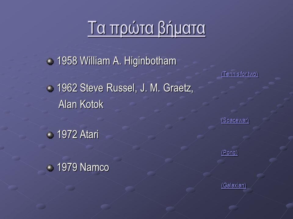 Τα πρώτα βήματα 1958 William A. Higinbotham (Tennis for two) (Tennis for two) 1962 Steve Russel, J.