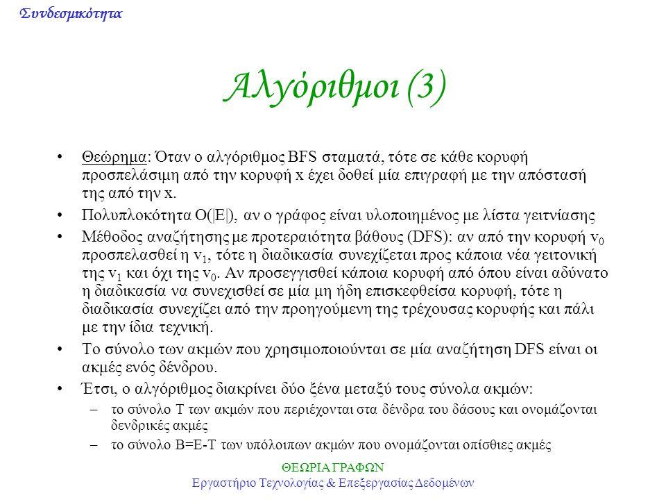 Συνδεσμικότητα ΘΕΩΡΙΑ ΓΡΑΦΩΝ Εργαστήριο Τεχνολογίας & Επεξεργασίας Δεδομένων Αλγόριθμοι (4) Αλγόριθμος DFS των Hopcroft-Tarjan (1973): Είσοδος: ένας γράφος G με επιγραφές και μία κορυφή Έξοδος: ένα σύνολο Τ δενδρικών κορυφών και μία αρίθμηση dfi(v) 1.Για κάθε θέτουμε, Για κάθε θέτουμε Θέτουμε, όπου x η κορυφή από όπου θα αρχίσει η αναζήτηση 2.Θέτουμε και 3.Αν η κορυφή v δεν έχει μη χρησιμοποιημένες προσπίπτουσες ακμές, τότε πηγαίνουμε στο Βήμα 5 4.Βρίσκουμε μία μη χρησιμοποιημένη προσπίπτουσα ακμή e=(u,v) και θέτουμε Θέτουμε Αν, τότε πηγαίνουμε στο Βήμα 3 αλλιώς εκτελούνται οι εντολές: θέτουμε, πηγαίνουμε στο Βήμα 2 5.