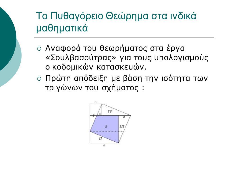 Το Πυθαγόρειο Θεώρημα στα ινδικά μαθηματικά  Αναφορά του θεωρήματος στα έργα «Σουλβασούτρας» για τους υπολογισμούς οικοδομικών κατασκευών.  Πρώτη απ