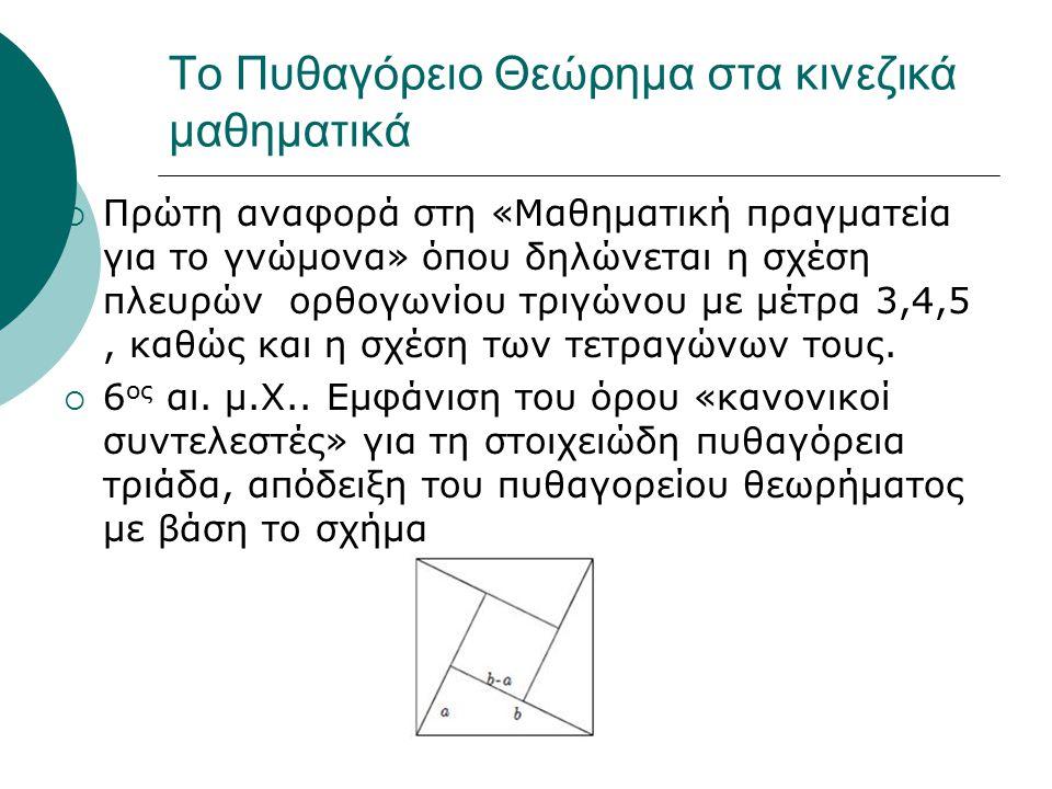  Πρώτη αναφορά στη «Μαθηματική πραγματεία για το γνώμονα» όπου δηλώνεται η σχέση πλευρών ορθογωνίου τριγώνου με μέτρα 3,4,5, καθώς και η σχέση των τε
