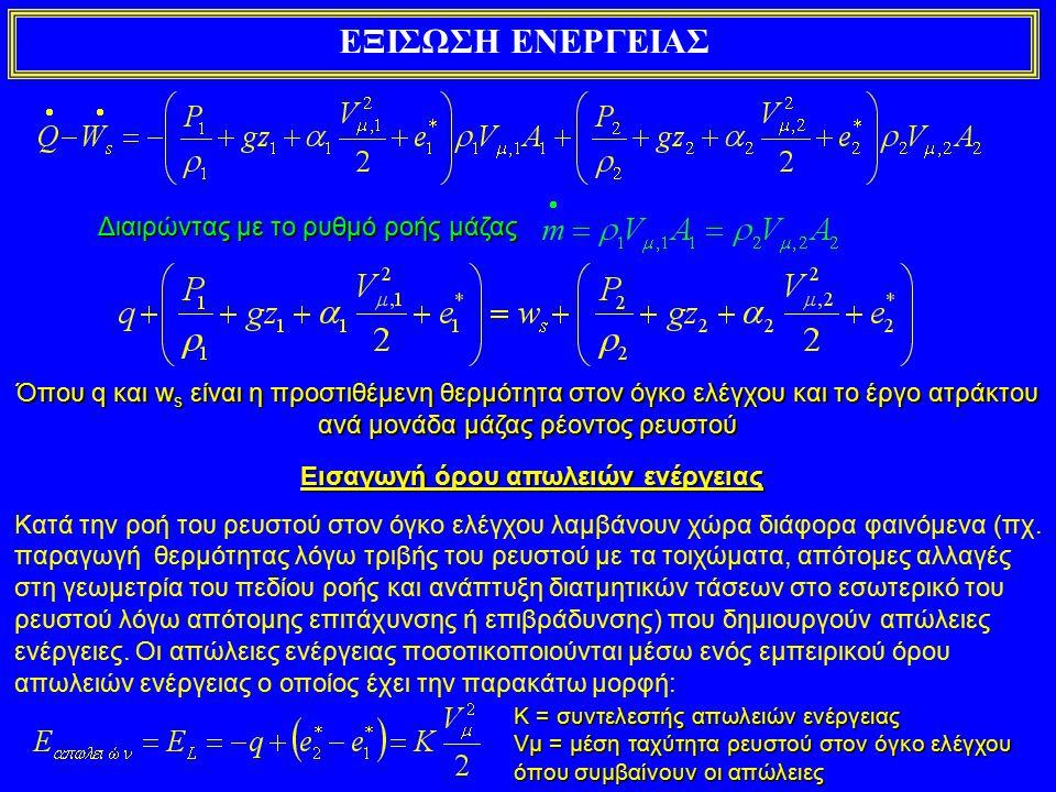 ΕΞΙΣΩΣΗ ΕΝΕΡΓΕΙΑΣ Γενική εξίσωση ενέργειας σε όγκο ελέγχου σε μόνιμη ροή όλοι οι όροι εκφράζουν Ενέργεια ανά μονάδα μάζας Γενική εξίσωση ενέργειας σε όγκο ελέγχου σε μόνιμη ροή όλοι οι όροι εκφράζουν Ενέργεια ανά μονάδα βάρους