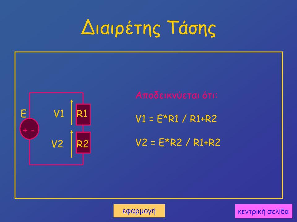 Διαιρέτης Τάσης E + - R1 R2 V1 V2 Αποδεικνύεται ότι: V1 = E*R1 / R1+R2 V2 = E*R2 / R1+R2 κεντρική σελίδα εφαρμογή