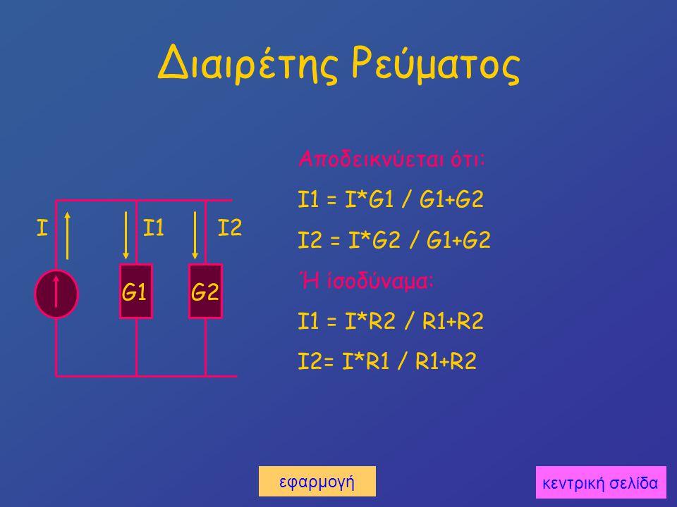 Διαιρέτης Ρεύματος G1G2 I1I2I Αποδεικνύεται ότι: I1 = I*G1 / G1+G2 I2 = I*G2 / G1+G2 Ή ίσοδύναμα: I1 = I*R2 / R1+R2 I2= I*R1 / R1+R2 κεντρική σελίδα εφαρμογή