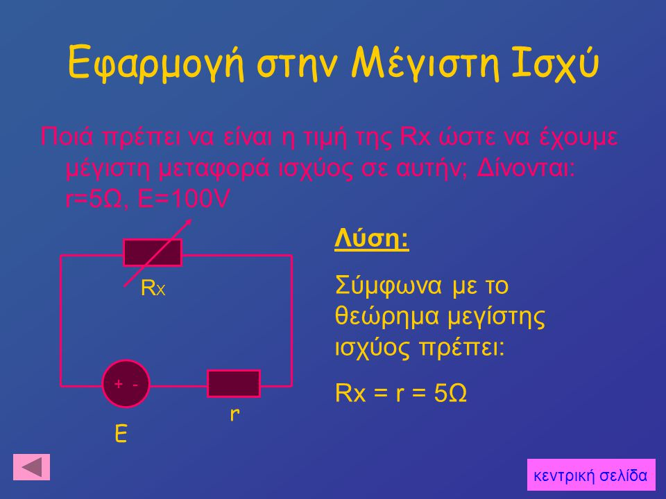 Εφαρμογή στην Μέγιστη Ισχύ Ποιά πρέπει να είναι η τιμή της Rx ώστε να έχουμε μέγιστη μεταφορά ισχύος σε αυτήν; Δίνονται: r=5Ω, Ε=100V RXRX r + - E Λύση: Σύμφωνα με το θεώρημα μεγίστης ισχύος πρέπει: Rx = r = 5Ω κεντρική σελίδα