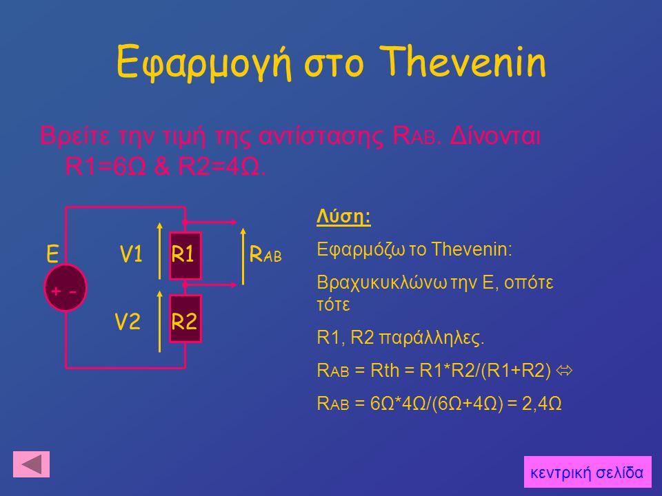 Εφαρμογή στο Thevenin Βρείτε την τιμή της αντίστασης R AB. Δίνονται R1=6Ω & R2=4Ω. E + - R1 R2 V1 V2 R AB Λύση: Εφαρμόζω το Thevenin: Βραχυκυκλώνω την
