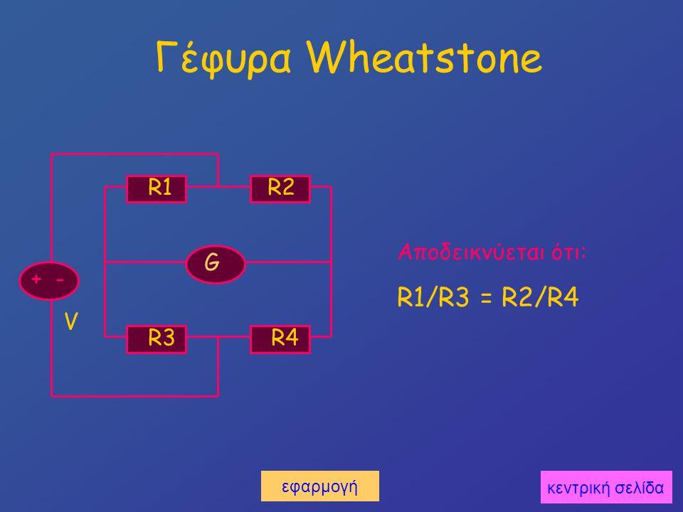 Γέφυρα Wheatstone + - V R1 R2 R3 R4 G Αποδεικνύεται ότι: R1/R3 = R2/R4 εφαρμογή κεντρική σελίδα