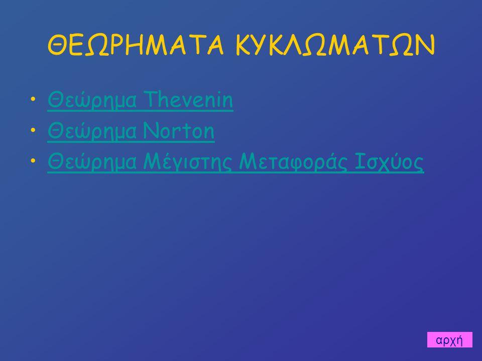 Θεώρημα Μέγιστης Μεταφοράς Ισχύος Συνθήκη Μέγιστης Μεταφοράς: RX = r Τότε: Pmax = E 2 /4r RXRX r E + - εφαρμογή κεντρική σελίδα
