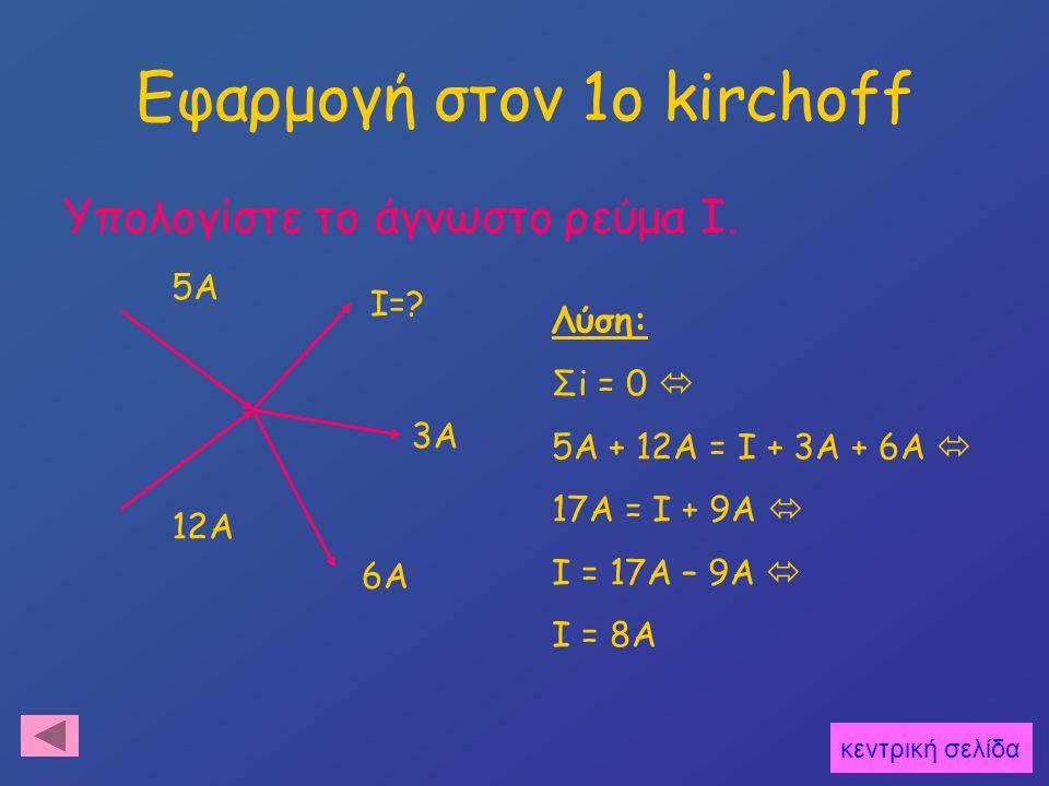 Νόμος Τάσεων (2os kirchoff) + - V1 V2 V3 R1 R2 R3 V Αποδεικνύεται ότι: V = V1 + V2 + V3 Ή γενικευμένα: Σ V i = 0 κεντρική σελίδα εφαρμογή
