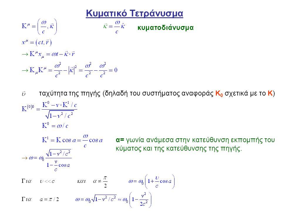Κυματικό Τετράνυσμα ταχύτητα της πηγής (δηλαδή του συστήματος αναφοράς Κ 0 σχετικά με το Κ) κυματοδιάνυσμα α= γωνία ανάμεσα στην κατεύθυνση εκπομπής τ
