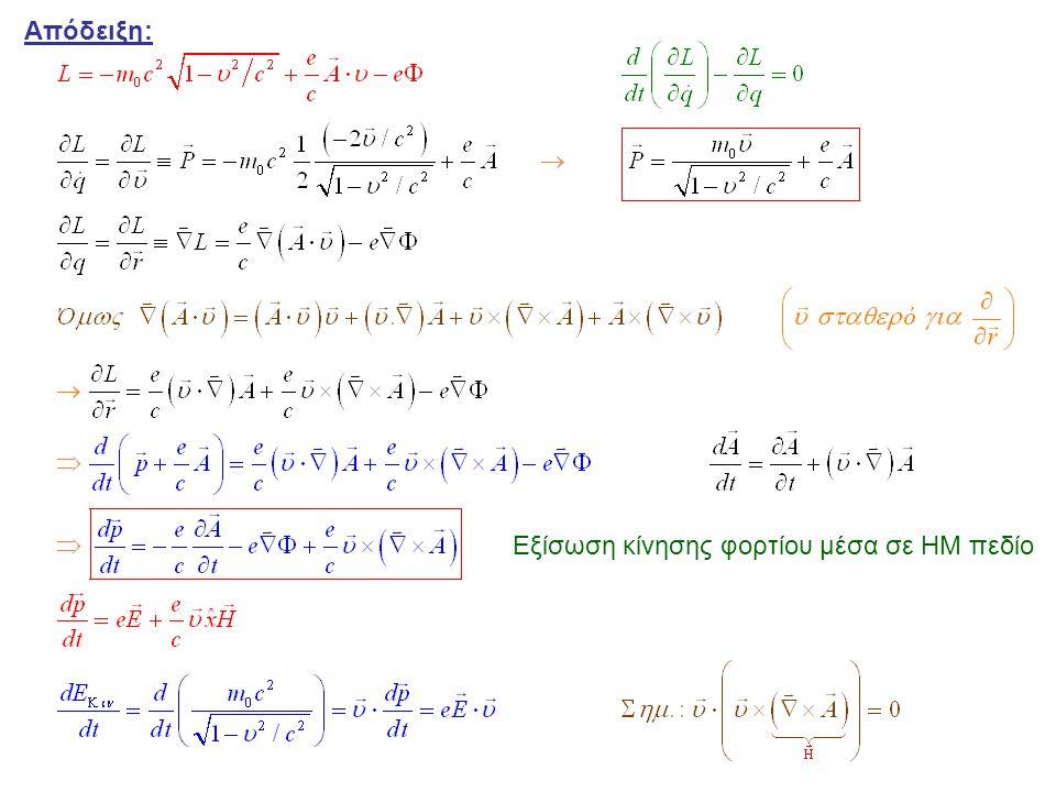Μετασχηματισμός Βαθμίδος « Ο μετασχηματισμός που αφήνει αναλλοίωτες τις εξισώσεις κίνησης, δηλαδή τα πεδία και » f = τυχαία συνάρτηση Τανυστής Ηλεκτρομαγνητικού Πεδίου (αντισυμμετρικός) Συναλλοίωτος Τανυστής Ανταλλοίωτος Τανυστής
