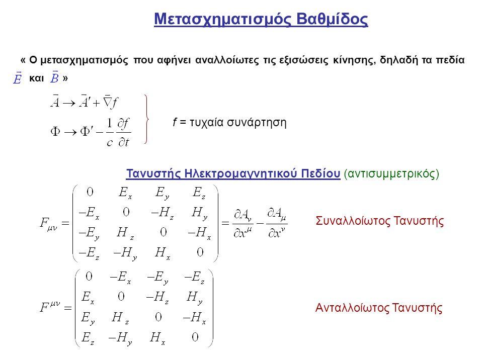 Εξισώσεις Κίνησης: Μετασχηματισμοί (ΗΜ πεδίου) συνιστωσών τανυστή : Πυκνότητα φορτίου Στοιχειώδης όγκος Στοιχειώδες ηλεκτρικό φορτίο Αναλλοίωτο Μεταβάλλονται από το ένα σε άλλο Σύστημα Αναφοράς