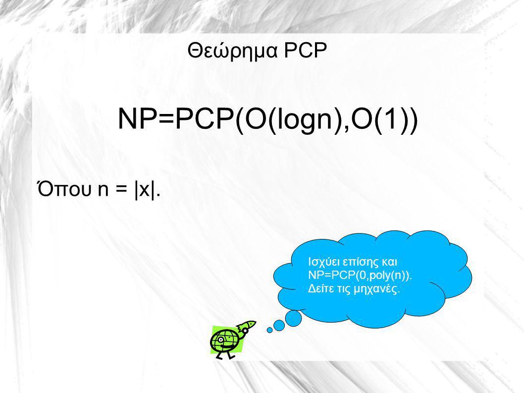 Θεώρημα PCP NP=PCP(O(logn),O(1)) Όπου n = |x|. Ισχύει επίσης και NP=PCP(0,poly(n)).