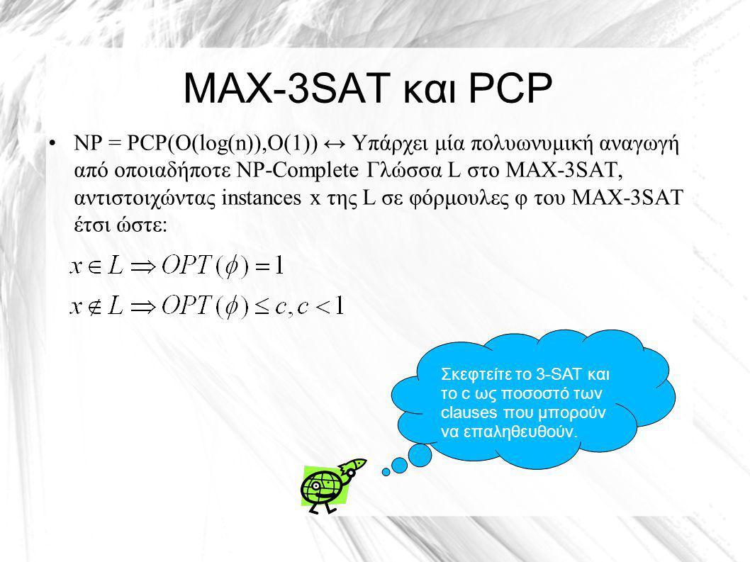 ΜΑΧ-3SAT και PCP NP = PCP(O(log(n)),O(1)) ↔ Υπάρχει μία πολυωνυμική αναγωγή από οποιαδήποτε NP-Complete Γλώσσα L στο ΜΑΧ-3SAT, αντιστοιχώντας instances x της L σε φόρμουλες φ του MAX-3SAT έτσι ώστε: Σκεφτείτε το 3-SAT και το c ως ποσοστό των clauses που μπορούν να επαληθευθούν.