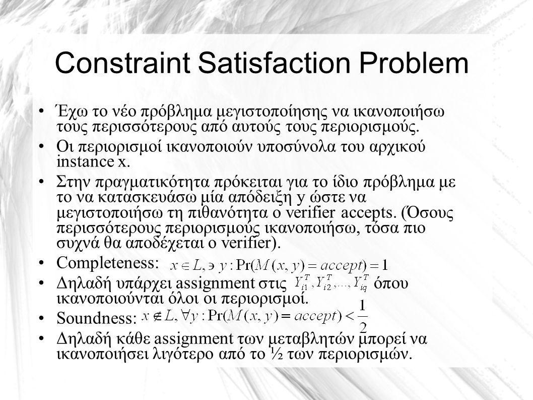 Constraint Satisfaction Problem Έχω το νέο πρόβλημα μεγιστοποίησης να ικανοποιήσω τους περισσότερους από αυτούς τους περιορισμούς.