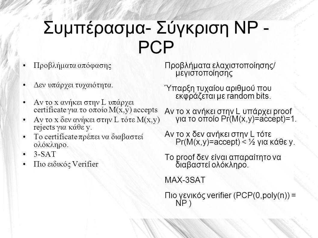 Συμπέρασμα- Σύγκριση NP - PCP Προβλήματα απόφασης Δεν υπάρχει τυχαιότητα.