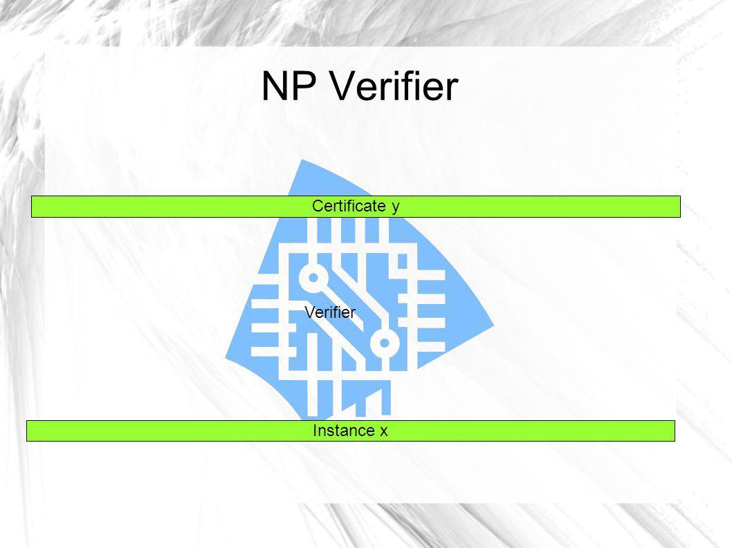NP Verifier Verifier Instance x Certificate y