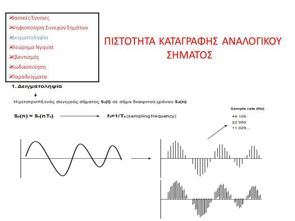 ΠΙΣΤΟΤΗΤΑ ΚΑΤΑΓΡΑΦΗΣ ΑΝΑΛΟΓΙΚΟΥ ΣΗΜΑΤΟΣ  Βασικές Έννοιες  Ψηφιοποίηση Συνεχών Σημάτων  Δειγματοληψία  Θεώρημα Nyquist  Κβαντισμός  Κωδικοποίηση