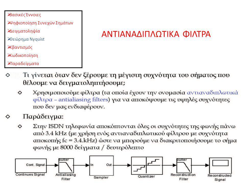 ΑΝΤΙΑΝΑΔΙΠΛΩΤΙΚΑ ΦΙΛΤΡΑ  Βασικές Έννοιες  Ψηφιοποίηση Συνεχών Σημάτων  Δειγματοληψία  Θεώρημα Nyquist  Κβαντισμός  Κωδικοποίηση  Παραδείγματα
