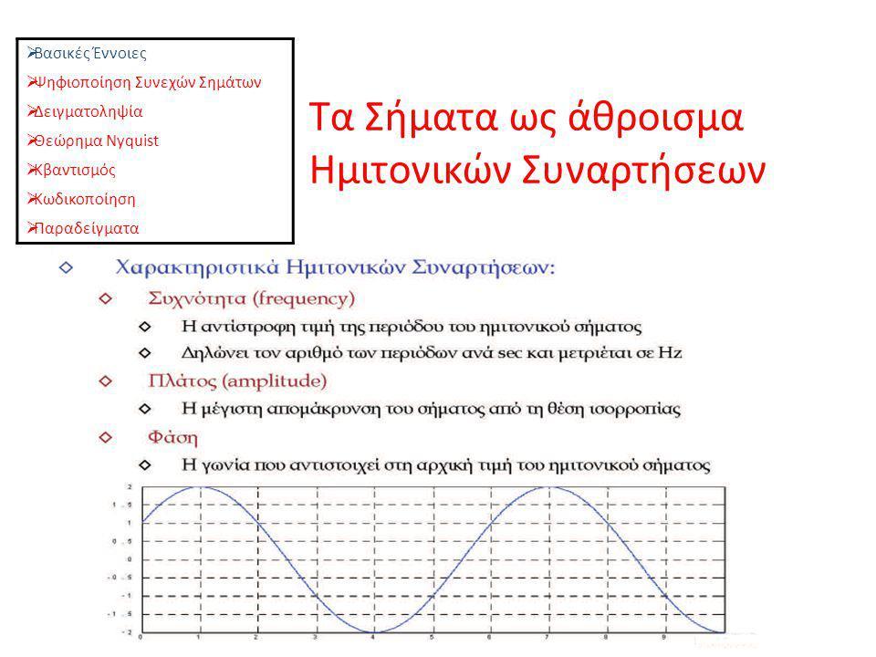 Τα Σήματα ως άθροισμα Ημιτονικών Συναρτήσεων  Βασικές Έννοιες  Ψηφιοποίηση Συνεχών Σημάτων  Δειγματοληψία  Θεώρημα Nyquist  Κβαντισμός  Κωδικοπο